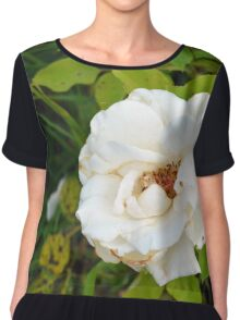 White rose and green leaves pattern. Chiffon Top