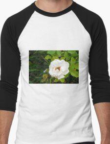 White rose and green leaves pattern. Men's Baseball ¾ T-Shirt
