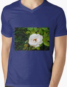 White rose and green leaves pattern. Mens V-Neck T-Shirt