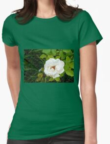 White rose and green leaves pattern. Womens Fitted T-Shirt