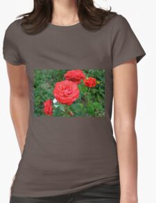 Red roses, natural background. Womens Fitted T-Shirt