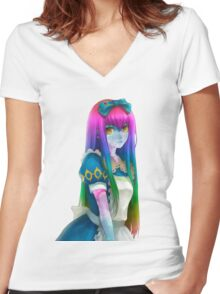 Galaxy Rainbow Girl Women's Fitted V-Neck T-Shirt