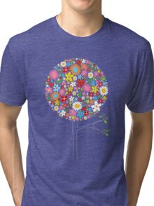 Whimsical Colorful Spring Flowers Pop Tree Tri-blend T-Shirt
