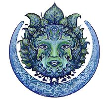 Blue Spiritual Sun and Moon Photographic Print