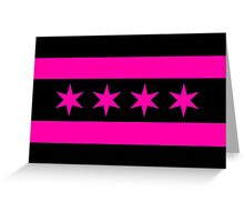 Chicago Flag - Pink & Black Greeting Card