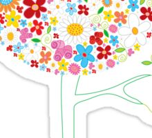 Whimsical Colorful Spring Flowers Pop Tree II Sticker