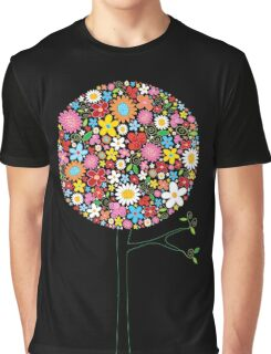 Whimsical Colorful Spring Flowers Pop Tree II Graphic T-Shirt