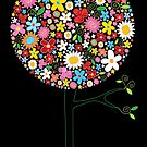 Whimsical Colorful Spring Flowers Pop Tree II by fatfatin