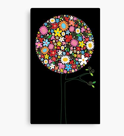 Whimsical Colorful Spring Flowers Pop Tree II Canvas Print