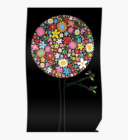 Whimsical Colorful Spring Flowers Pop Tree II Poster