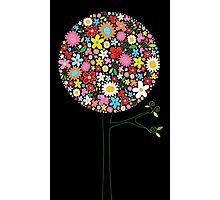 Whimsical Colorful Spring Flowers Pop Tree II Photographic Print