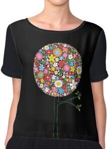 Whimsical Colorful Spring Flowers Pop Tree II Chiffon Top