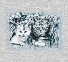 Baby Cats in Light Blue One Piece - Long Sleeve