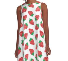 Cream Strawberries Pattern A-Line Dress