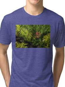 Gardening Delights - Miniature Creek with Red Primrose Tri-blend T-Shirt