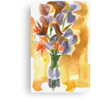 Irises with Stars of Bethlehem Watercolor Canvas Print