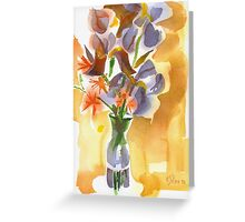 Irises with Stars of Bethlehem Watercolor Greeting Card