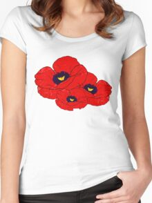 Poppy White Women's Fitted Scoop T-Shirt