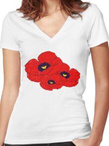 Poppy White Women's Fitted V-Neck T-Shirt
