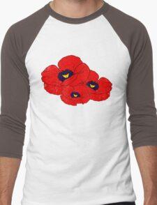 Poppy White Men's Baseball ¾ T-Shirt