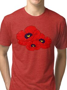 Poppy White Tri-blend T-Shirt