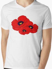Poppy White Mens V-Neck T-Shirt