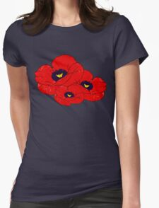 Poppy White Womens Fitted T-Shirt