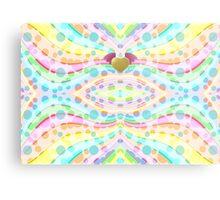 Cute Girly Pastel Circles Waves Winged Heart Angel Metal Print