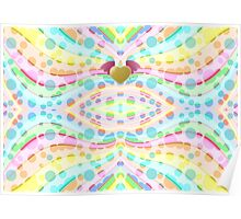 Cute Girly Pastel Circles Waves Winged Heart Angel Poster