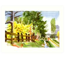 Forsythia in Bloom in Watercolor Art Print