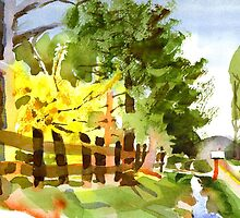 Forsythia in Bloom in Watercolor by KipDeVore