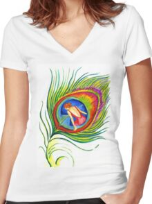 Behind blue eyes Women's Fitted V-Neck T-Shirt