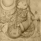 Moon Guitar drawing by © Karin Taylor