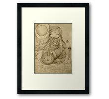 Moon Guitar drawing Framed Print