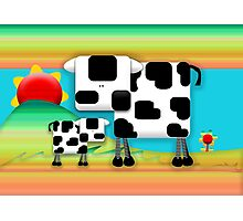 Moo Cow Sunrise Family Photographic Print