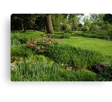 Gardening Delights - Vigorous Greens and Blooming Peonies Canvas Print