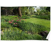 Gardening Delights - Vigorous Greens and Blooming Peonies Poster