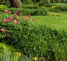 Gardening Delights - Vigorous Greens and Blooming Peonies Sticker