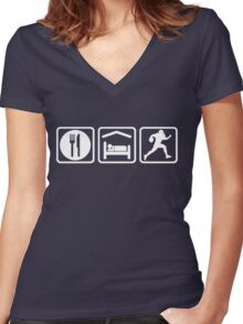 Funny Eat Sleep Football Repeat Women's Fitted V-Neck T-Shirt