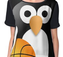 Penguin with a basketball ball Chiffon Top
