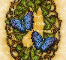 Oval Ivy and Butterflies by TASIllustration