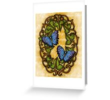 Oval Ivy and Butterflies Greeting Card