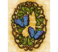 Oval Ivy and Butterflies Photographic Print