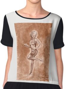 Pinup girl fashion, in stockings, and stiletto high heel shoes. Chiffon Top