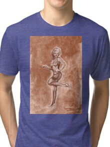 Pinup girl fashion, in stockings, and stiletto high heel shoes. Tri-blend T-Shirt