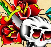 Skull, dagger, and roses Sticker