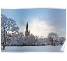 Norwich Cathedral in the Snow Poster