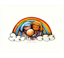 Christmas Rainbows Nativity  Art Print