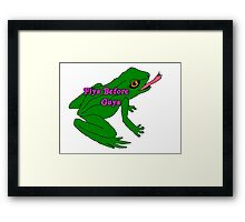 flys before guys frog Framed Print