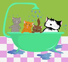 Cats in bath by Marishkayu